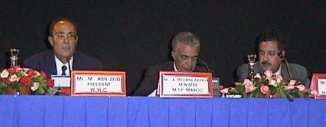 Mahmoud Abu-Zeid (Président du Conseil mondial de l'eau), A. Meziane Belfkih (Ministre des travaux publics, Maroc) et Hassan Abouyoub (Ministre de l'agriculture et du développement rural, Maroc)
