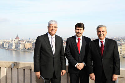 President Braga also met with the Brazilian Ambassador, H.E. Sergio Moreira Lima. Here with President Áder in the middle and Ambassador Lima to the far left.