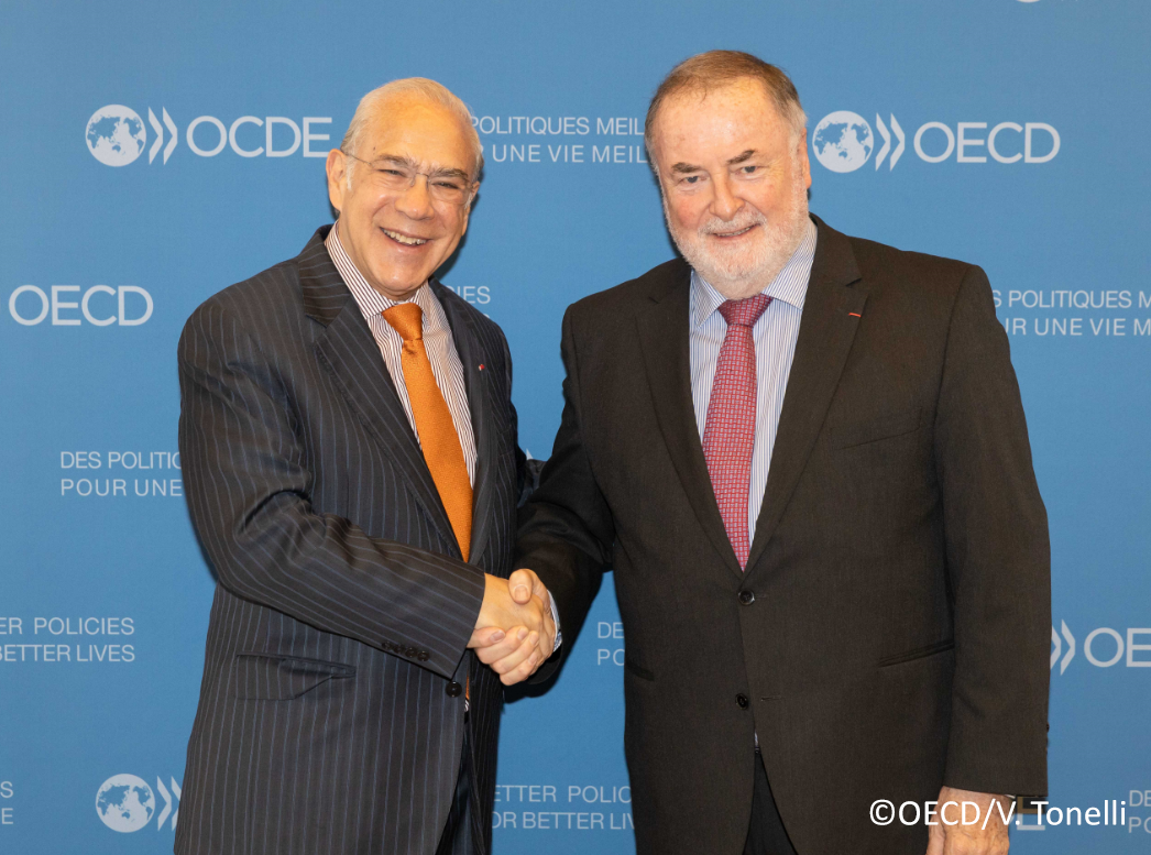 Secretary General of the Organisation for Economic Co-operation and Development (OECD) and WWC President Loic Fauchon, OECD Headquarters, Paris, France, 22 March 2019.