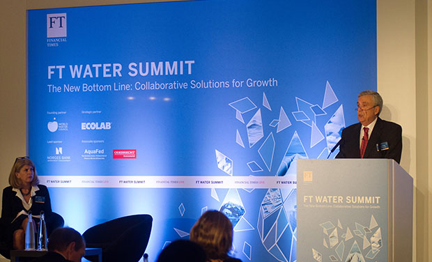 World Water Council President Benedito Braga, giving opening speech at the FT Water Summit in London, UK, 27 October 2015 © Photo courtesy of Financial Times