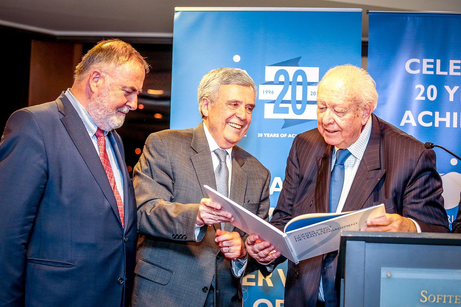 World Water Council President Benedito Braga (center), Mayor of Marseille Jean-Claude Gaudin (right) and World Water Council Honorary President Loïc Fauchon during the evening reception to celebrate the 20th anniversary of the World Water Council, 25 November 2016, Marseille, France