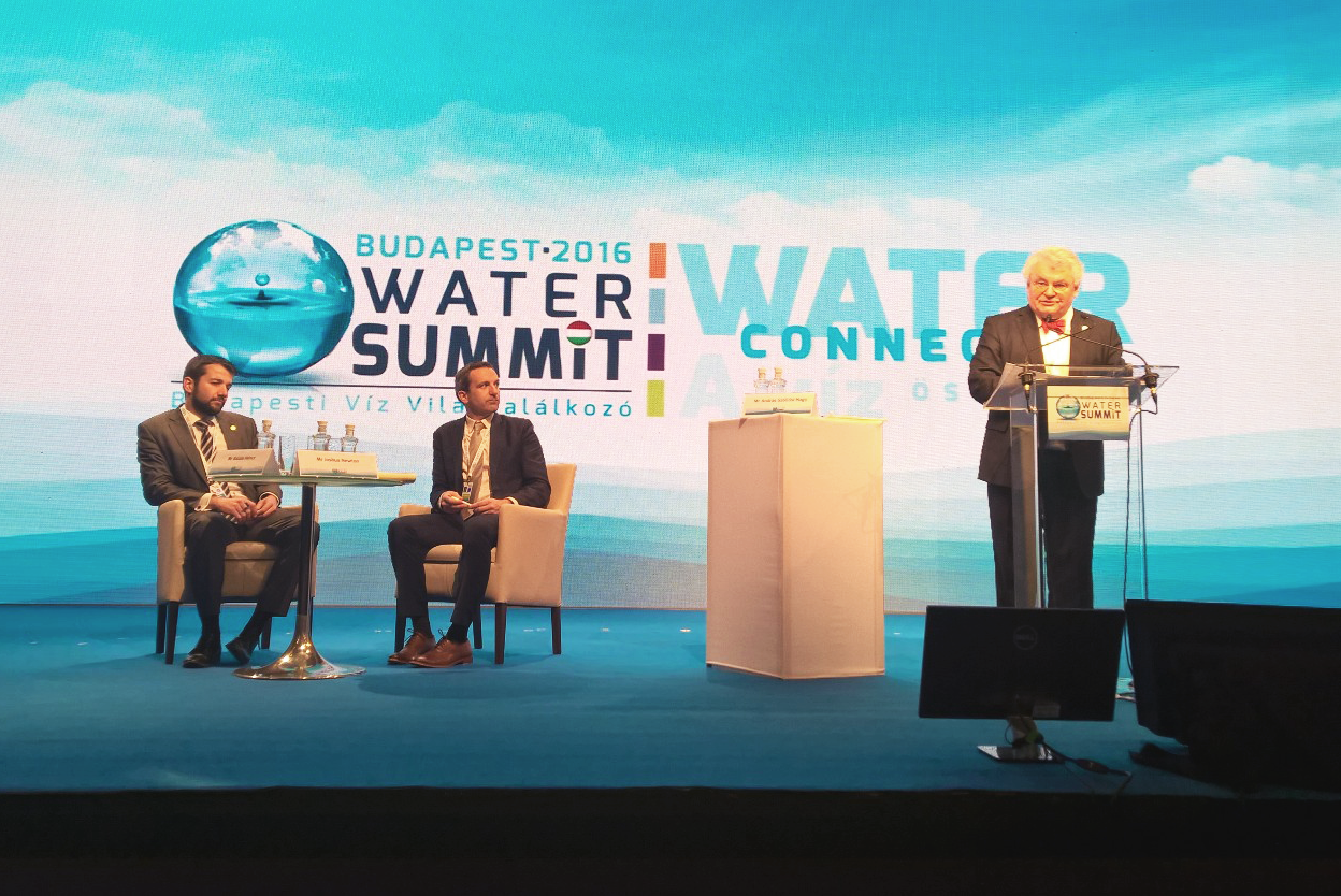 Caption: András Szöllősi-Nagy, World Water Council Governor, Co-Chair of the International Programme Committee and President of the Drafting Group of the Budapest Water Summit 2016 presents the BWS Messages, 30 November 2016 ©Budapest Water Summit 2016
