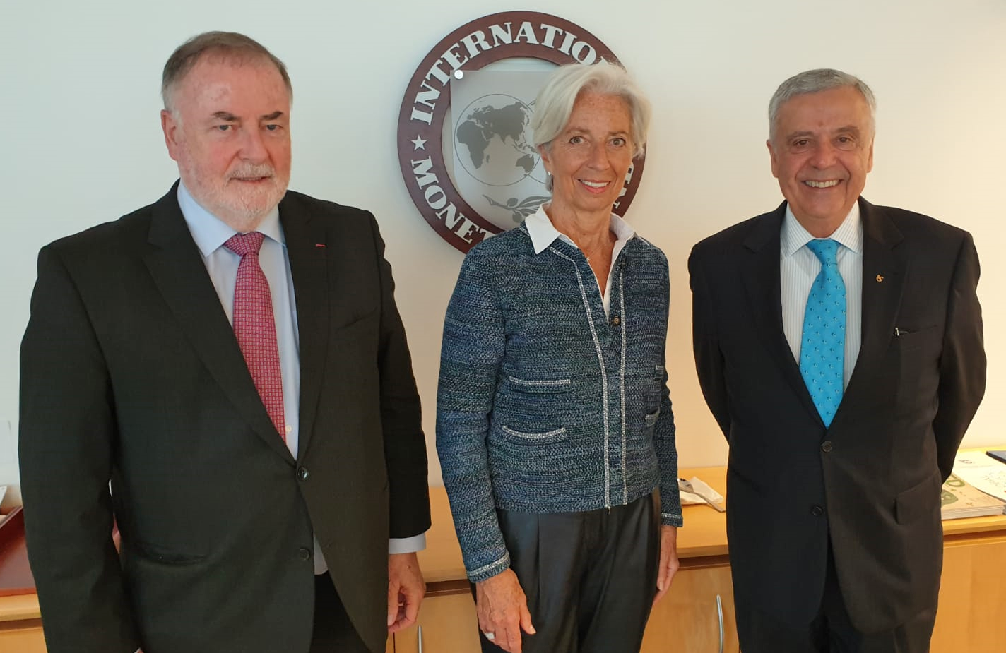 World Water Council President Loic Fauchon and Honorary President Benedito Braga meet Managing Director and Chairwoman of the International Monetary Fund Christine Lagarde, IMF Headquarters, Washington D.C., 4 April 2019