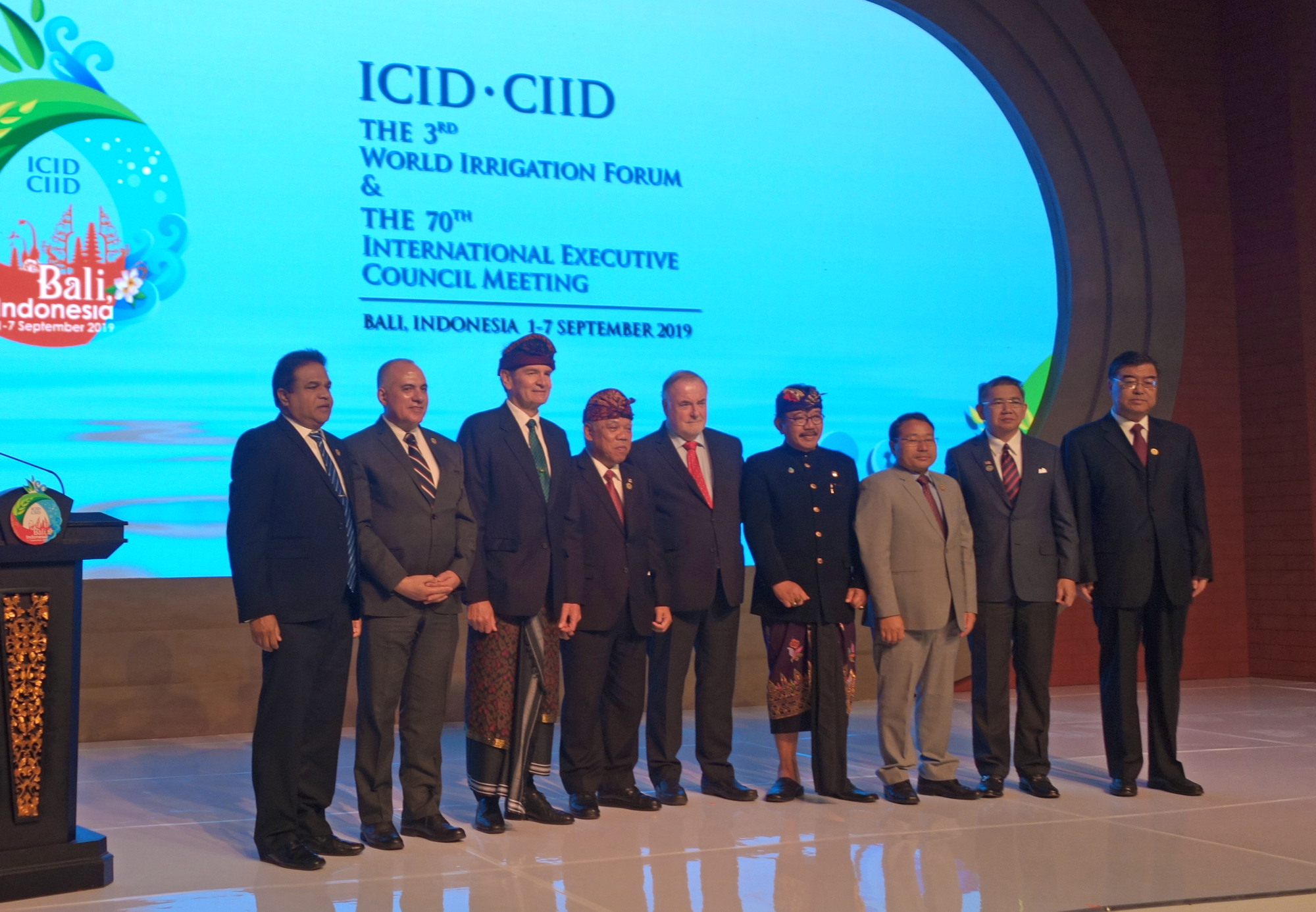 Opening Ceremony of the 3rd World Irrigation Forum, Bali, Indonesia, 2 September 2019. Felix Reinders, President of ICID (third from left); Basuki Hadimuljono, Minister of Public Works and Housing of Indonesia (fourth from left); Loïc Fauchon, President of the World Water Council (center); Tjokorda Oka Artha Ardana Sukawati, Vice Governor of Bali Province (fourth from right); and other dignitaries.
