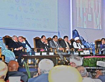 From left to right: H.E Ambasador Shahira Wahbi, Chief of Sustainable Development and International Cooperation, League of Arab States (LAS); H.E. Dr. Adel El-Beltagy, Minister of Agriculture and Land Reclamation; H.E. Dr. Adnan Badran - Former Prime Minister – The Hashemite Kingdom of Jordan; H.E. Dr. Mahmoud Abu Zeid – President of the Arab Water Council; HRH Prince Khalid Bin Sultan - Chairman of Prince Sultan Bin Abdulaziz International Water Prize and the President Honoraire of the Arab Water Coun