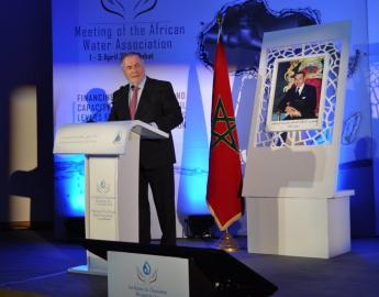 President Loic Fauchon delivered a speech at the 81st African Water Association's Scientific and Technical Council Meeting on 1 April in Rabat