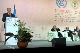 World Water Council Honorary President Loïc Fauchon presents the outcomes of Water Action Day to the High-level event on accelerating Climate Action, COP22, 17 November 2016