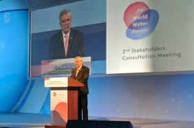 World Water Council President Benedito Braga opening the 2nd Stakeholders Consultation Meeting of the 7th World Water Forum