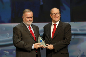 Prince Albert II of Monaco awards the Water prize to Loïc Fauchon, honorary president of the World Water Council and CEO of the Société des Eaux de Marseille, during the 8th awards ceremony of the Prince Albert II of Monaco Foundation at the Monaco Grimaldi Forum, October 2, 2015. Photo © JC Vinaj