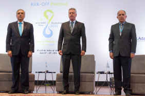 From left to right: Benedito Braga, President of the World Water Council, Senator Rodrigo Rollemberg, Federal District Governor, and Vicente Andreu Guillo, President of ANA (the Brazilian Water Agency) at the Opening Ceremony of the 8th World Water Forum Kick-off Meeting in Brasilia, Brazil, 27 June. Photo: @IsraelLima