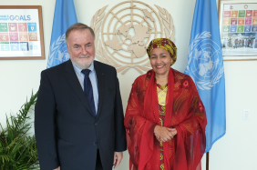 The President of the World Water Council, Loïc Fauchon, and the Vice Secretary General of the United Nations, Amina J. Mohammed, UN HQ, New York City, 24 June 2019