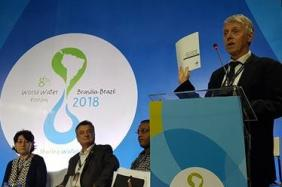 World Water Council Governor Torkil Jonch Clausen launches the challenge paper Revitalizing #IWRM for the 2030 agenda during the high-level panel at the 8th World Water Forum, Brasilia, Brazil, 20 March