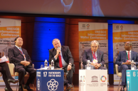 World Water Council President Loic Fauchon speaks at the high-level panel on water during the opening of UNESCO's International Water Conference, Paris, 13 May 2019